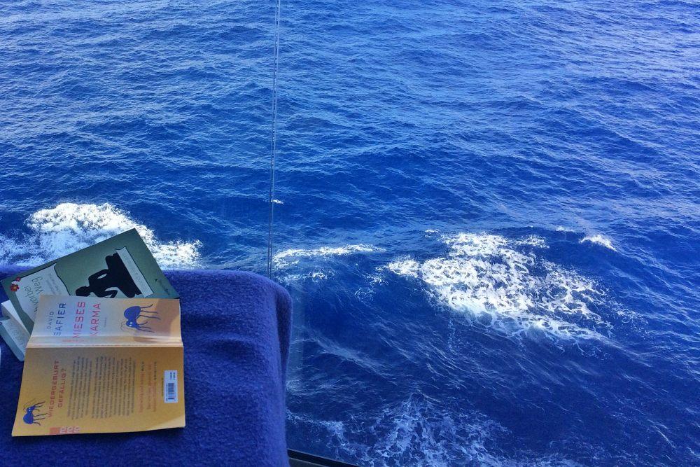 Bücher am Seetag auf der Mein Schiff 6 während der Kreuzfahrt Mallorca bis New York