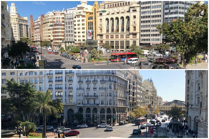 Blick vom Rathausbalkon in Valencia nach Norden und nach Süden